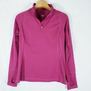 Alo Yoga Fleece 1/4 Zip pink thumb holes M